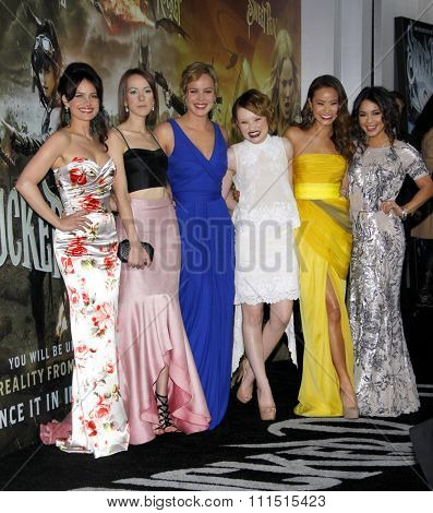 Carla Gugino, Jena Malone, Abbie Cornish, Emily Browning, Jamie Chung and Vanessa Hudgens at the LA premiere of 'Sucker Punch' held at the Grauman's Chinese Theater in Hollywood on March 23, 2011.