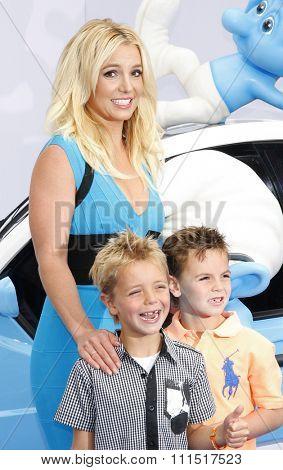 Britney Spears, sons Sean Federline and Jayden James Federline at the Los Angeles premiere of