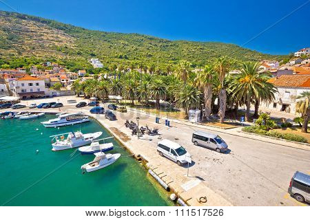 Emerald Sea And Palm Waterfront Of Vis