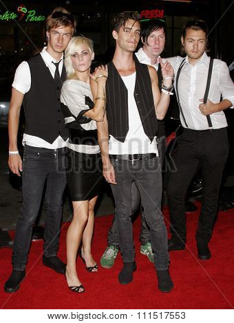 Cobra Starship attends the Premiere of 'Snakes on a Plane' held at the Grauman's Chinese Theater in Hollywood, California on August 17, 2006.