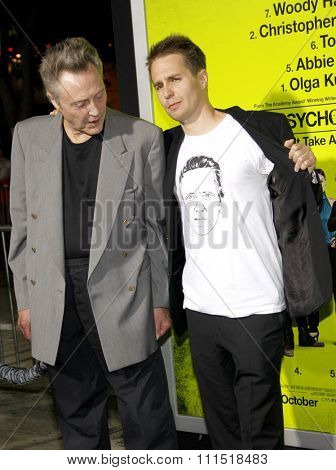 Christopher Walken and Sam Rockwell at the Los Angeles premiere of 'Seven Psychopaths' held at the Mann Bruin Theatre in Westwood on October 1, 2012.