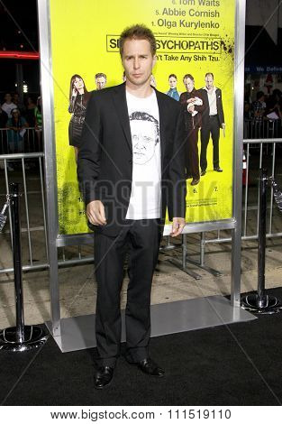 Sam Rockwell at the Los Angeles premiere of 'Seven Psychopaths' held at the Mann Bruin Theatre in Westwood on October 1, 2012.