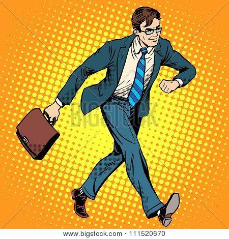 Businessman optimist goes to work
