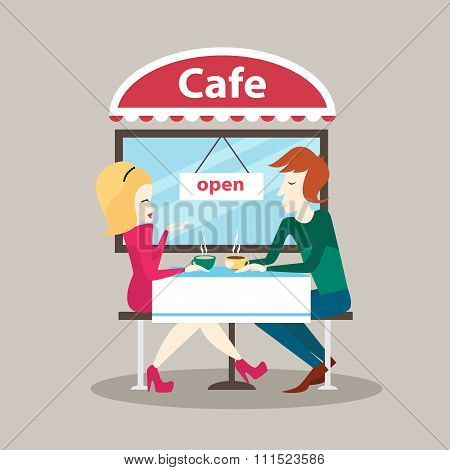 Man And Woman Sitting In Outdoor Cafe