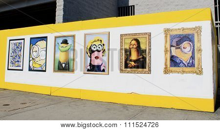 Minions movie promotional artsy posters at La Brea Blvd. in Los Angeles, USA on July 4, 2015.