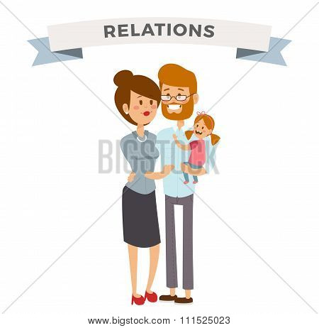 Small girl, woman and man happy family couple