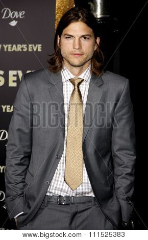 Ashton Kutcher at the Los Angeles premiere of 'New Year's Eve' held at the Grauman's Chinese Theatre in Hollywood on December 5, 2011.