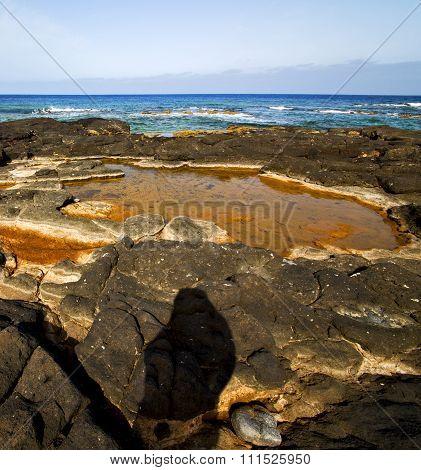 In Spain  Lanzarote  Rock Stone Sky Cloud Beach
