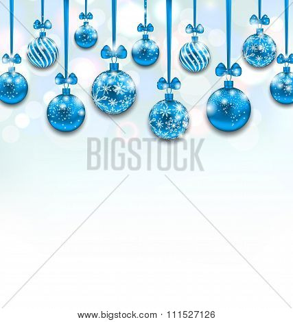 Christmas Blue Glassy Balls with Bow Ribbon