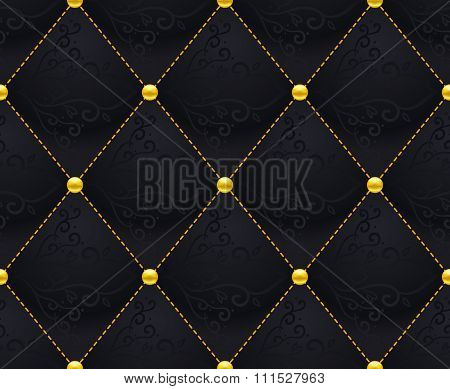 Black Quilted Seamless Vector Pattern