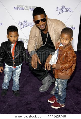 Usher at the Los Angeles premiere of 'Justin Bieber: Never Say Never' held at the Nokia Theatre L.A. Live in Los Angeles on February 8, 2011.