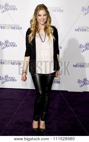 Ashley Benson at the Los Angeles premiere of 'Justin Bieber: Never Say Never' held at the Nokia Theatre L.A. Live in Los Angeles on February 8, 2011.