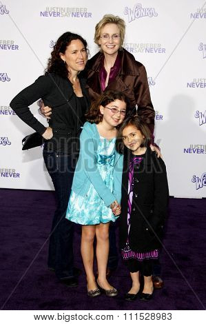Lara Embry and Jane Lynch at the Los Angeles premiere of 'Justin Bieber: Never Say Never' held at the Nokia Theatre L.A. Live in Los Angeles on February 8, 2011.