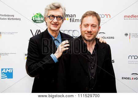 Wim Wenders and Juliano Salgado at the German Oscar nominees reception held at Villa Aurora in Pacific Palisades on February 21, 2015.