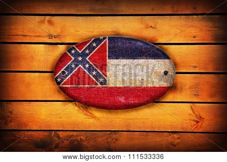 Wooden Mississippi Flag.