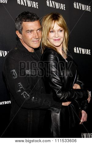 Antonio Banderas and Melanie Griffith at the Los Angeles premiere of 'Haywire' held at the DGA Theater in Hollywood on January 5, 2012.
