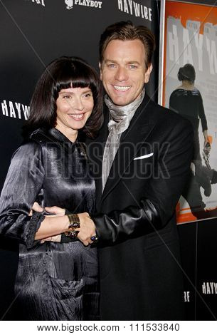 Ewan McGregor and Eve Mavrakis at the Los Angeles premiere of 'Haywire' held at the DGA Theater in Hollywood on January 5, 2012.