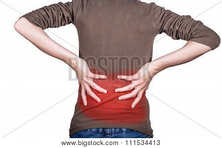 Little girl with back pain holding the hand