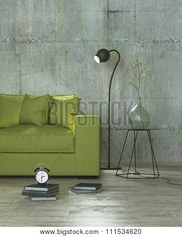 Loft Interior Room With Lamp And Yellow Sofa, 3D