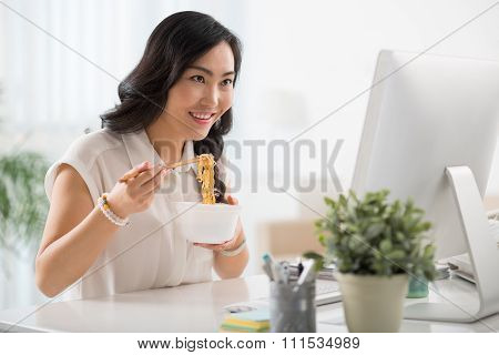 Enjoying instant noodle