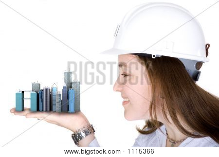 Architecture Project - Woman Holding Buildings