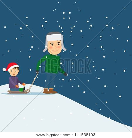 Happy winter time. Dad and son sledding