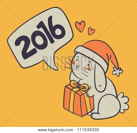 Hand Drawn Bunny Holding A Present And Wishing A Happy New Year