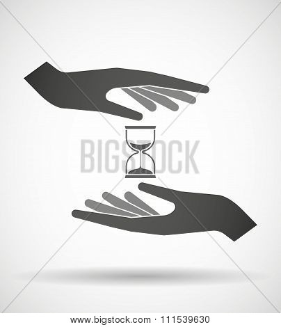 Two Hands Protecting Or Giving A Sand Clock