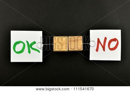 Ok No, Two Paper Notes On Black Background For Presentation