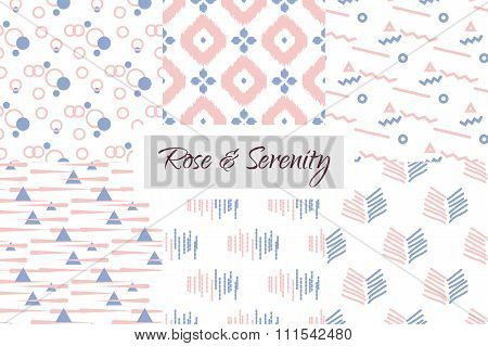 Geometric seamless pattern set in trendy rose and violet color of the year 2016. Abstract simple des
