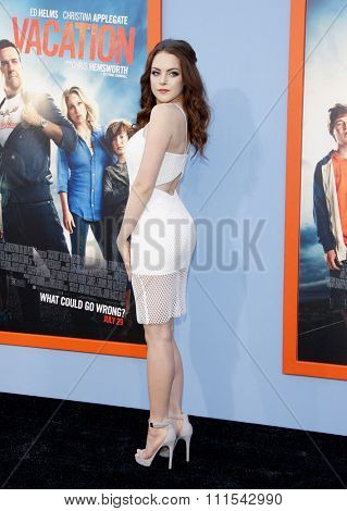 Elizabeth Gillies at the Los Angeles premiere of 'Vacation' held at the Regency Village Theatre in Westwood, USA on July 27, 2015.
