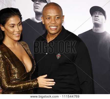 Dr. Dre and Nicole Young at the Los Angeles premiere of 'Straight Outta Compton' held at the Microsoft Theatre in Los Angeles, USA on August 10, 2015.