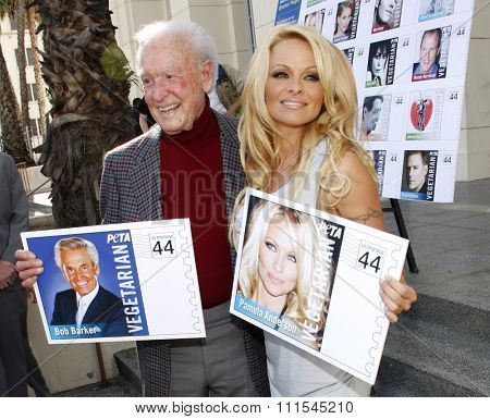 LOS ANGELES, USA - NOVEMBER 29, 2011: PETA Goes Postal: Pamela Anderson and Bob Barker Unveil Vegetarian Icons Postage Sheet held at the Hollywood Post Office in Hollywood, USA.