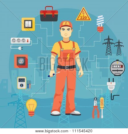 Electrician man concept with professional instruments tools