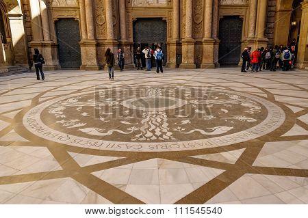 Entrance to Montserrat Monastery Abbey