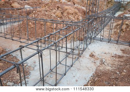 Steel Rod For Beam And Pillar At Construction Site