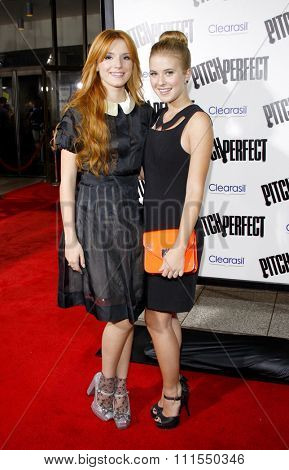 Bella Thorne and Caroline Sunshine at the Los Angeles premiere of 'Pitch Perfect' held at the ArcLight Cinemas in Hollywood, USA on September 24, 2012.