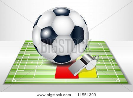 Football field with footballs set.