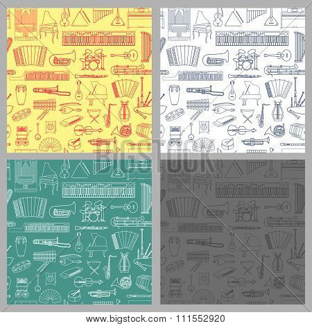Music seamless pattern set