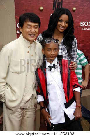 Jackie Chan, Jaden Smith and Ciara at the Los Angeles premiere of 'The Karate Kid' held at the Mann Village Theater in Westwood, USA on June 7, 2010.