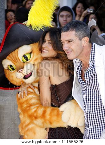 Antonio Banderas and Salma Hayek at the Los Angeles premiere of 'Puss In Boots' held at the Regency Village Theater in Westwood, USA on October 23, 2011.