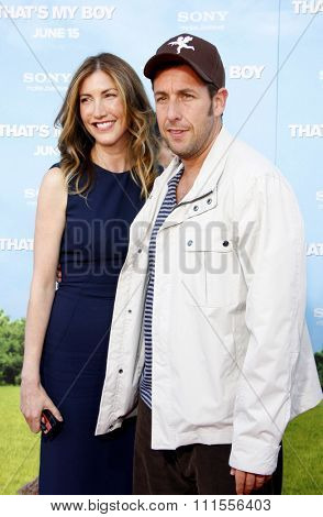 Jackie Sandler and Adam Sandler at the Los Angeles premiere of 'That's My Boy' held at the Westwood Village Theater in Los Angeles, USA June 4, 2012.