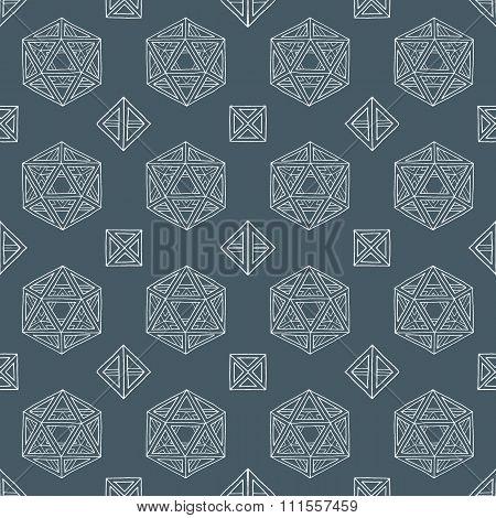 Hand Drawn Polyhedrons Seamless Pattern.