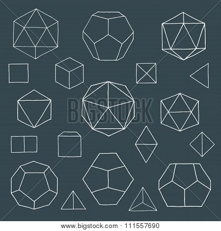 Hand Drawn Polyhedrons Collection.
