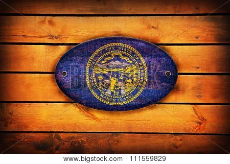 Wooden Nebraska Flag.