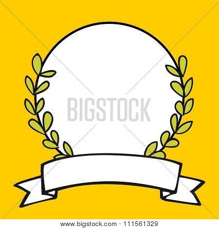 Laurel wreath vector frame on yellow background