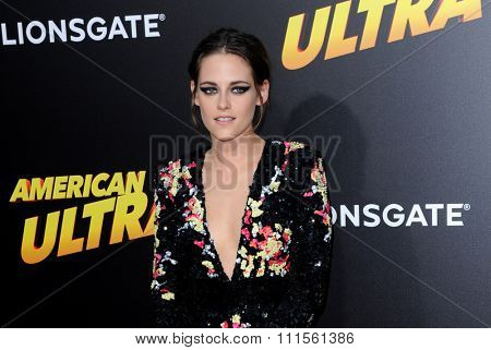 LOS ANGELES, CA - AUGUST 18, 2015: Kristen Stewart at the Los Angeles premiere of 'American Ultra' held at the Ace Theater Downtown LA in Los Angeles, USA on August 18, 2015.
