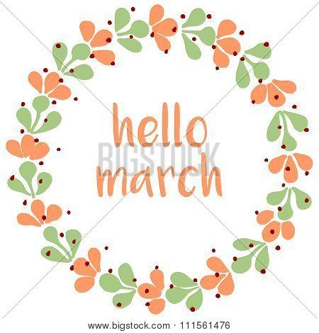 Hello march watercolor wreath vector card