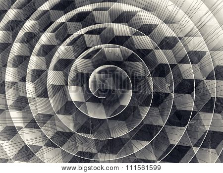 Spiral Over Cubic Pattern And Old Paper Texture