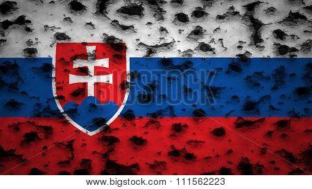Flag of Slovakia, slovak flag painted on wall with bullet holes